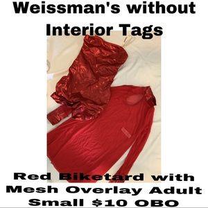 Weissmans Red Biketard with Mesh Overlay